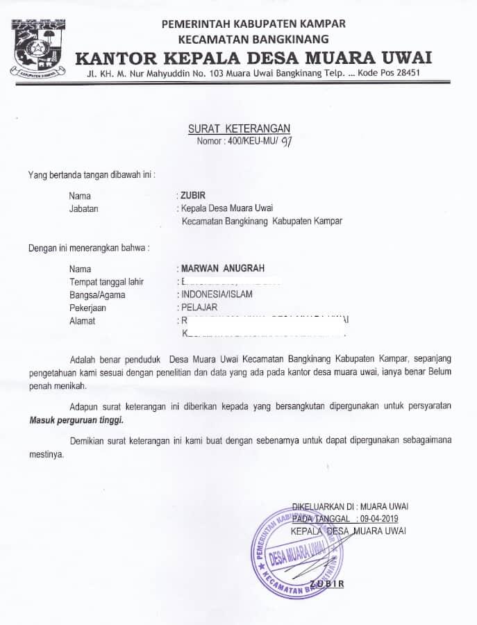 1. Surat Keterangan Belum Menikah Untuk Melamar Pekerjaan