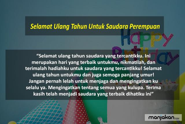 Selamat Ulang Tahun Untuk Saudara Perempuan